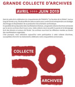 Tract collecte d'archives 2019, cop. Ensa PVL